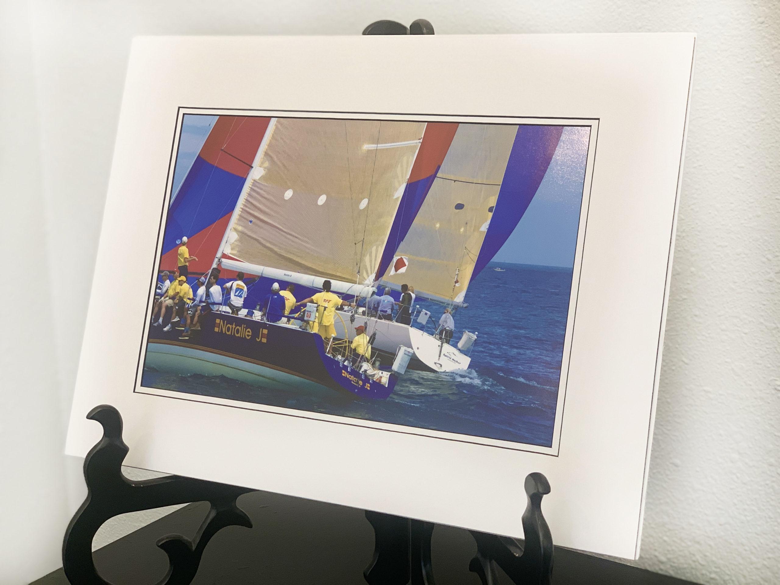 Racing sailboats on beautiful sunny Lake Huron