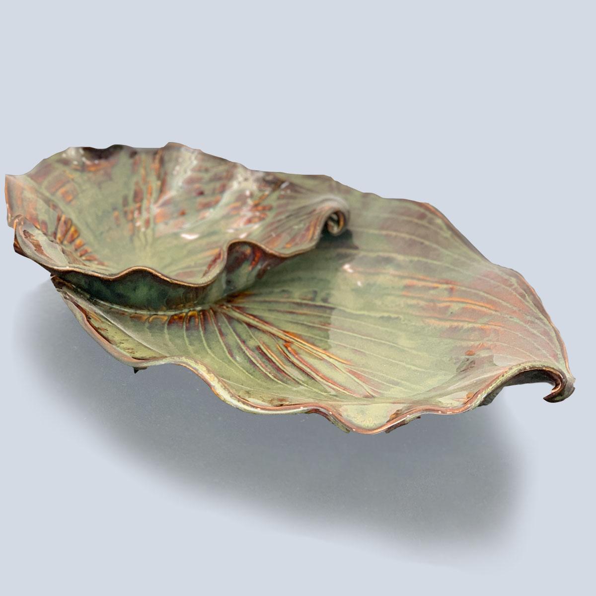 earth tones leaf serving dish pottery